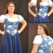 Blue and White Floral Bodice