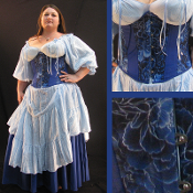Blue Floral  Cotton Underbust Corset