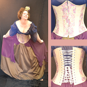Pink and Khaki Tapestry Underbust Corset