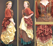 Brown Floral Bodice
