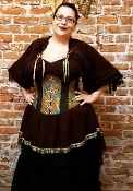 Brown Grape Leaves Underbust Corset